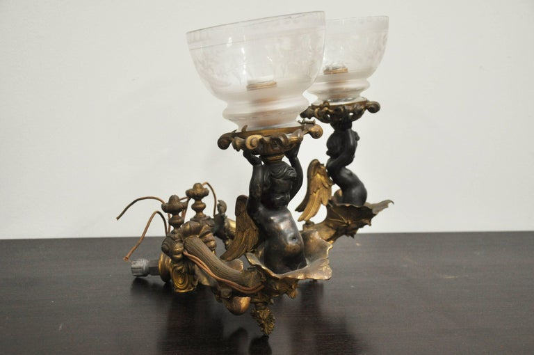 Six Bronze Gilt Sconces with Etched Glass Hurricanes In Good Condition For Sale In Geneva, IL