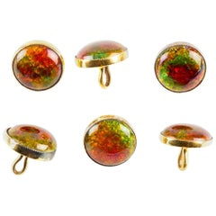 Six Buttons, Style of Liberty & Co. 15 Carat Gold and Enamel, English circa 1910
