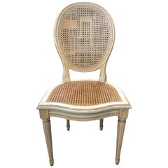 Six Cane French White Wood Chairs