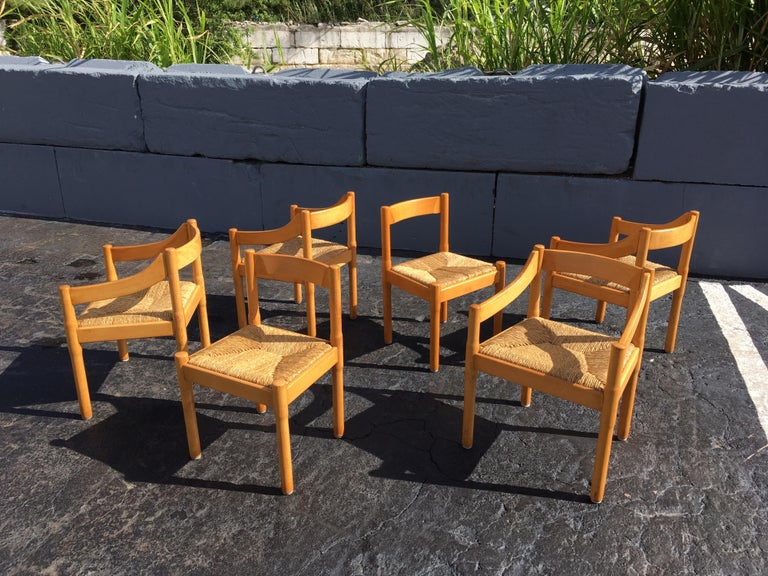 Six Carimate Dining Chairs by Vico Magistretti for Cassina 5