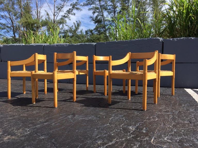 Mid-Century Modern Six Carimate Dining Chairs by Vico Magistretti for Cassina