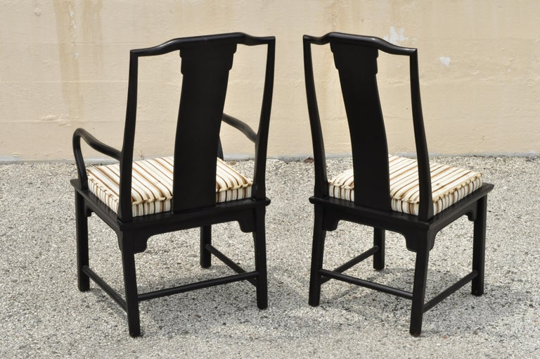Six Century Furniture Chin Hua James Mont Black Lacquer Oriental Dining Chairs 3