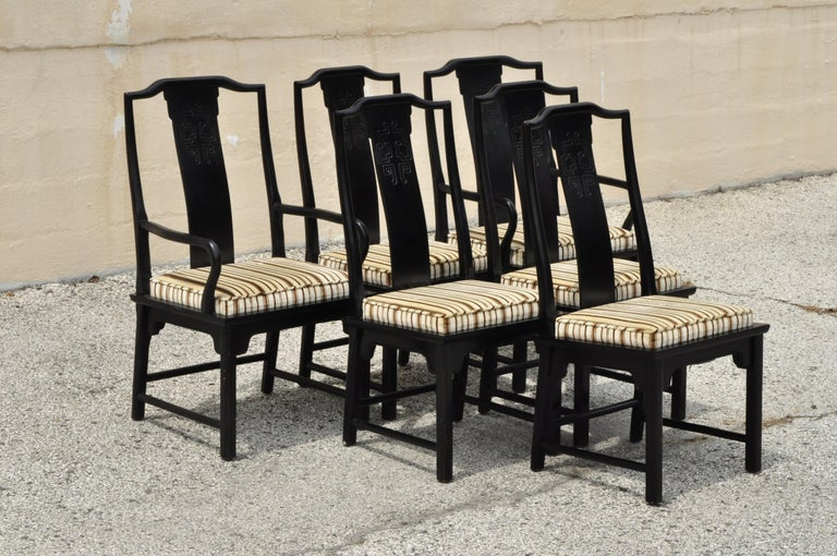 Six Century Furniture Chin Hua James Mont Black Lacquer Oriental Dining Chairs 4