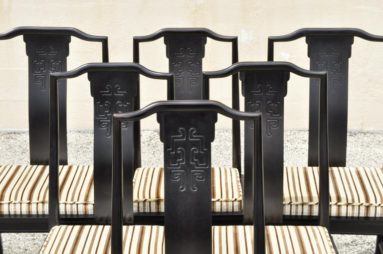 Six century Furniture Chin Hua James Mont style black lacquer Oriental dining chairs. Item features (2) armchairs, (4) side chairs, solid wood construction, upholstered seat, nicely carved details, original label, quality American craftsmanship,
