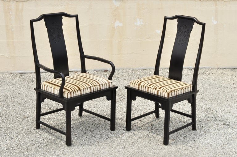 Chinese Chippendale Six Century Furniture Chin Hua James Mont Black Lacquer Oriental Dining Chairs