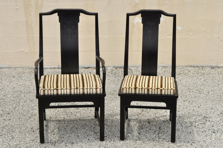 North American Six Century Furniture Chin Hua James Mont Black Lacquer Oriental Dining Chairs