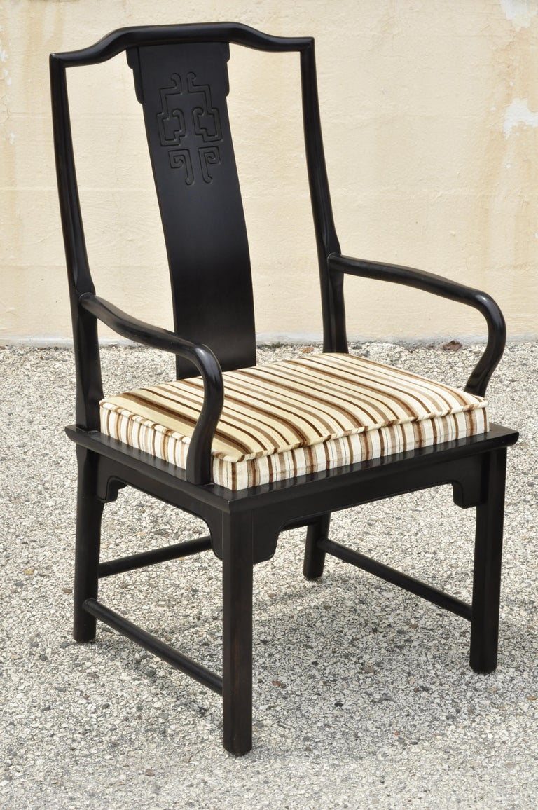 Six Century Furniture Chin Hua James Mont Black Lacquer Oriental Dining Chairs In Distressed Condition In Philadelphia, PA