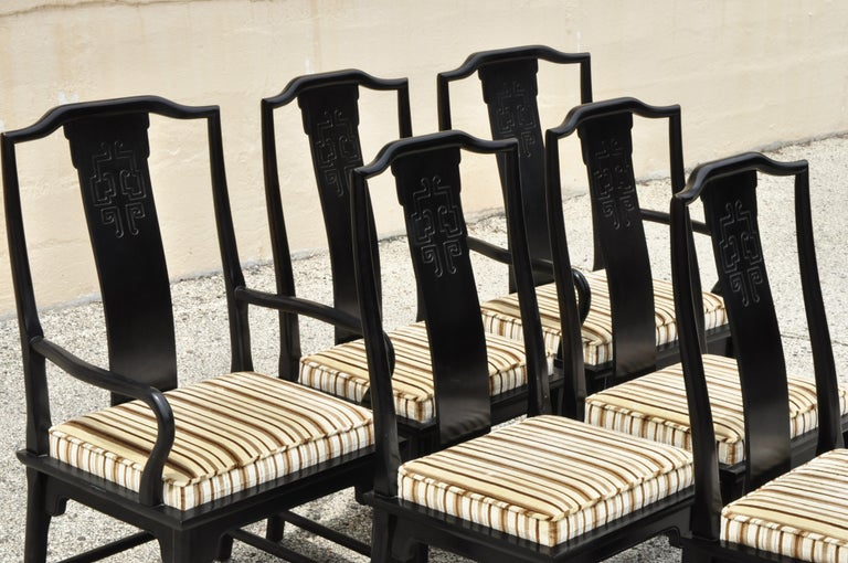 20th Century Six Century Furniture Chin Hua James Mont Black Lacquer Oriental Dining Chairs