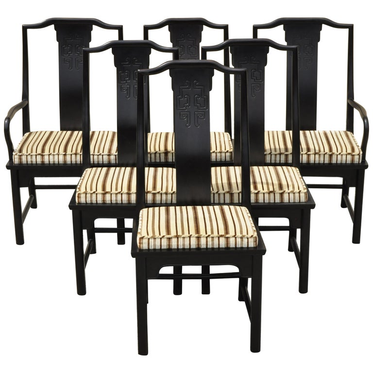 Six Century Furniture Chin Hua James Mont Black Lacquer Oriental Dining Chairs