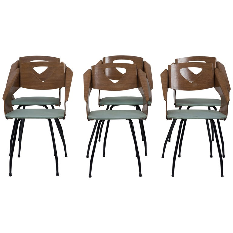 Six Chairs by Carlo Ratti - 1950s For Sale