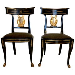 Six Chairs Antique Musical Empire Beechwood Gilt Swan Lion, Italy