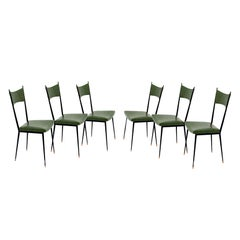Six Chairs by Colette Gueden, France 1950, Metal and Vynil, France for Primavera