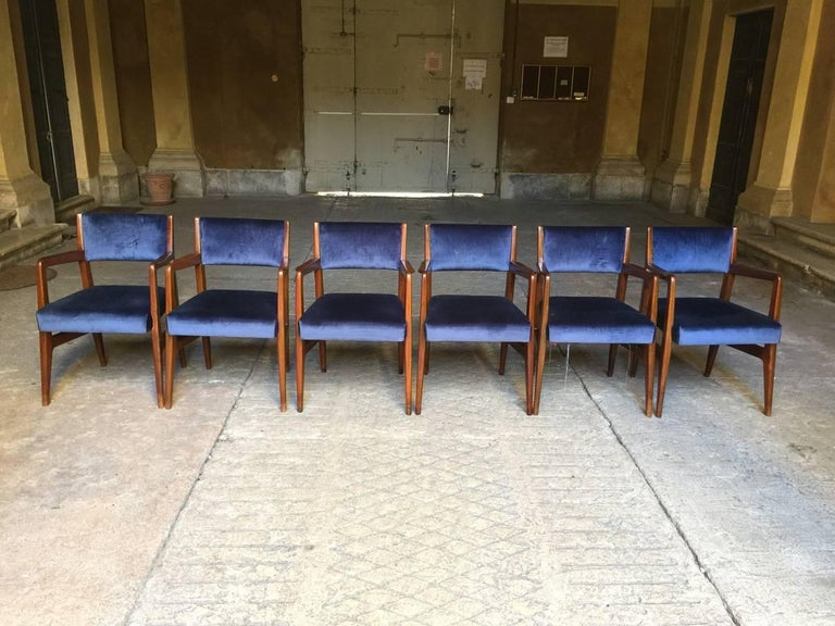 Italian Six Chairs, Design Gio Ponti, 1950, Italy, Augustus Ship For Sale