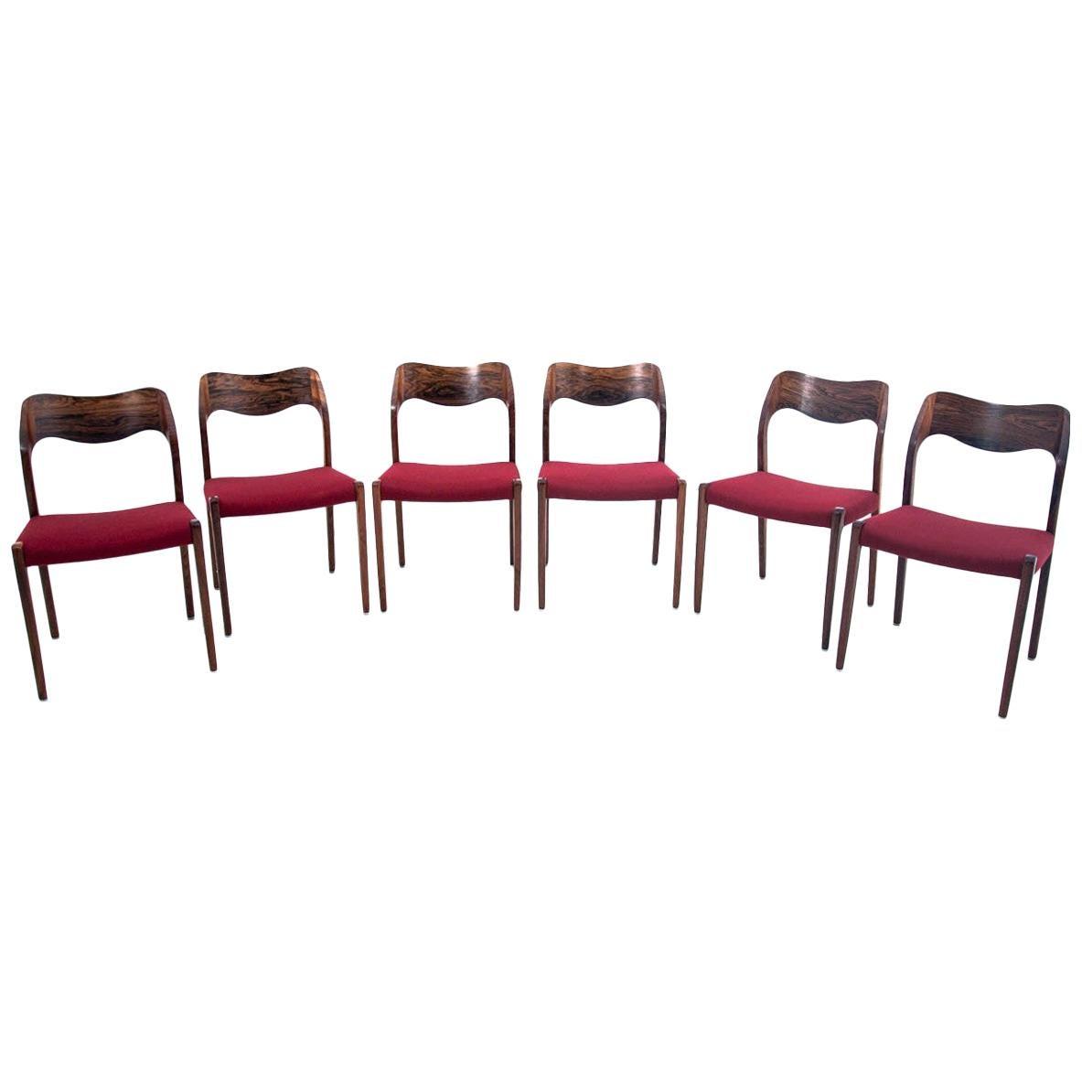 Six Chairs, Niels O. Møller, Model 71, Danish Design, 1960s