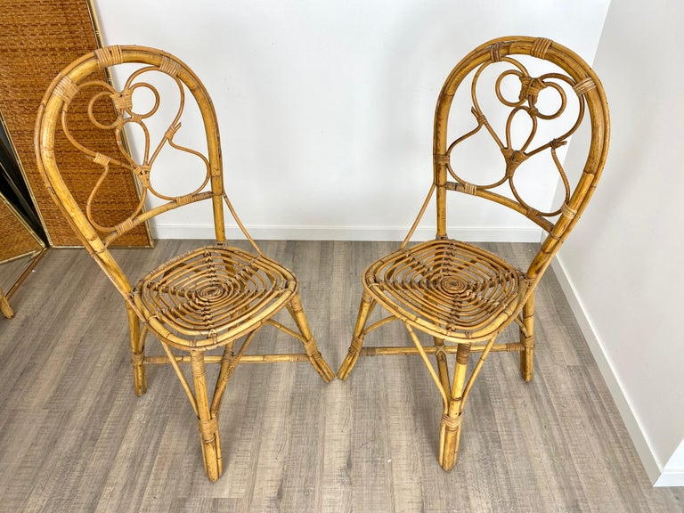 Six Chairs Rattan and Bamboo, Italy, 1960s For Sale 4