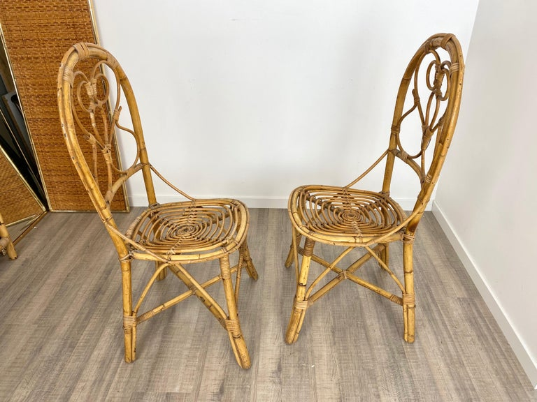 Six Chairs Rattan and Bamboo, Italy, 1960s For Sale 5