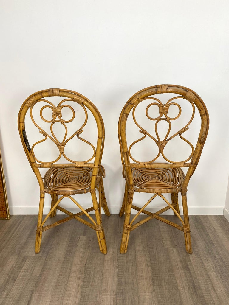 Six Chairs Rattan and Bamboo, Italy, 1960s For Sale 6