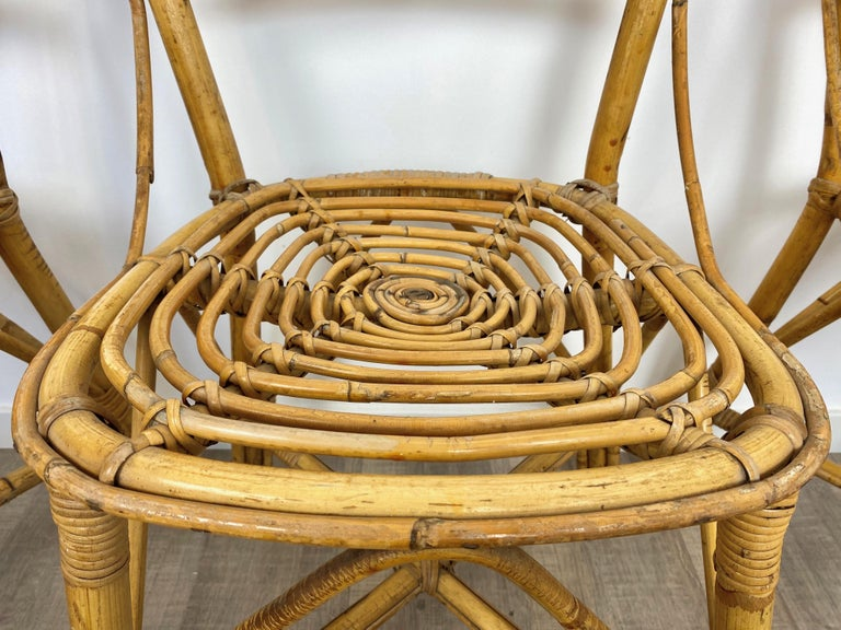 Six Chairs Rattan and Bamboo, Italy, 1960s For Sale 7