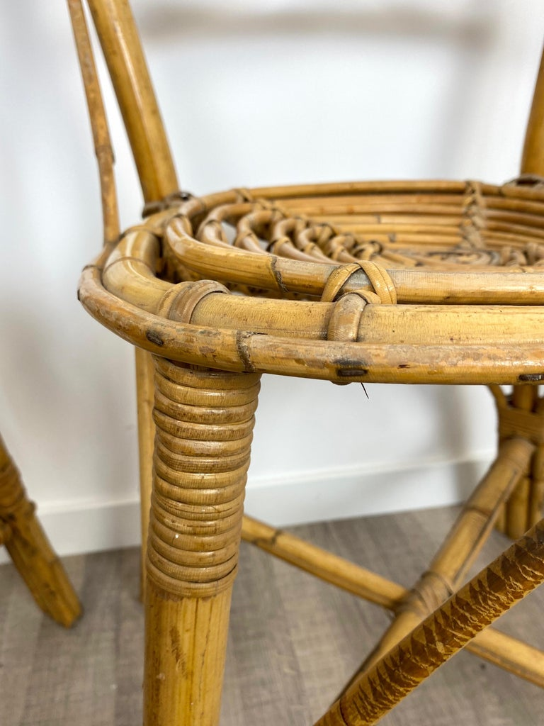 Six Chairs Rattan and Bamboo, Italy, 1960s For Sale 8