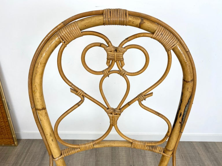 Six Chairs Rattan and Bamboo, Italy, 1960s For Sale 11