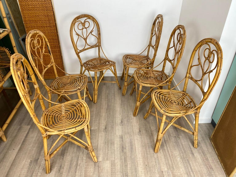 Six chairs made in rattan and bamboo. Made in Italy, 1960s.