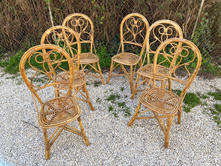 Six Chairs Rattan and Bamboo, Italy, 1960s For Sale 14