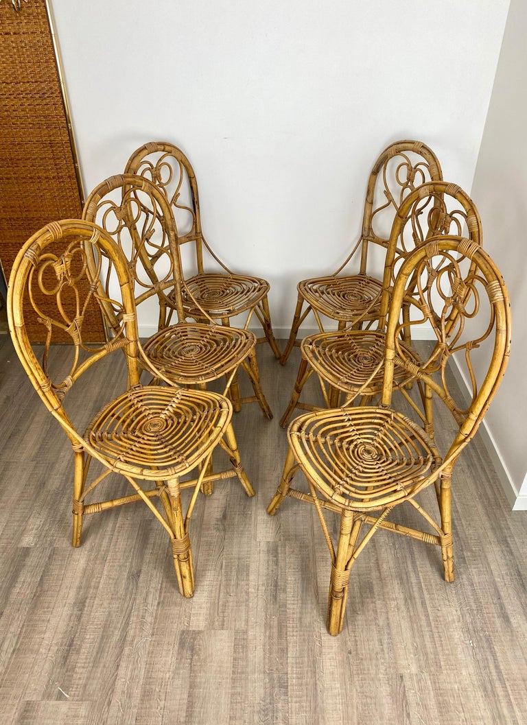 Mid-Century Modern Six Chairs Rattan and Bamboo, Italy, 1960s For Sale