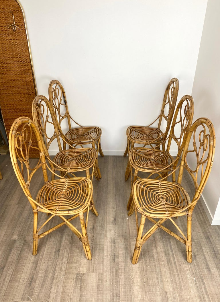 Italian Six Chairs Rattan and Bamboo, Italy, 1960s For Sale