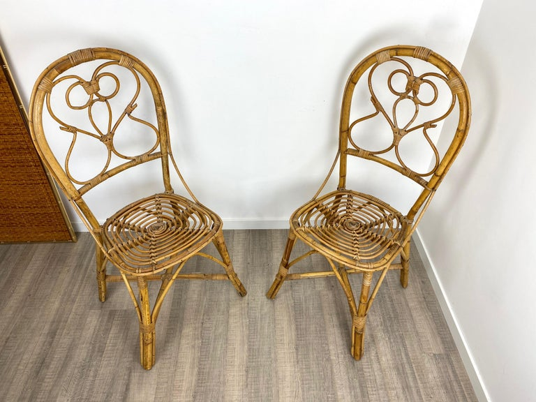 Six Chairs Rattan and Bamboo, Italy, 1960s In Good Condition For Sale In Rome, IT