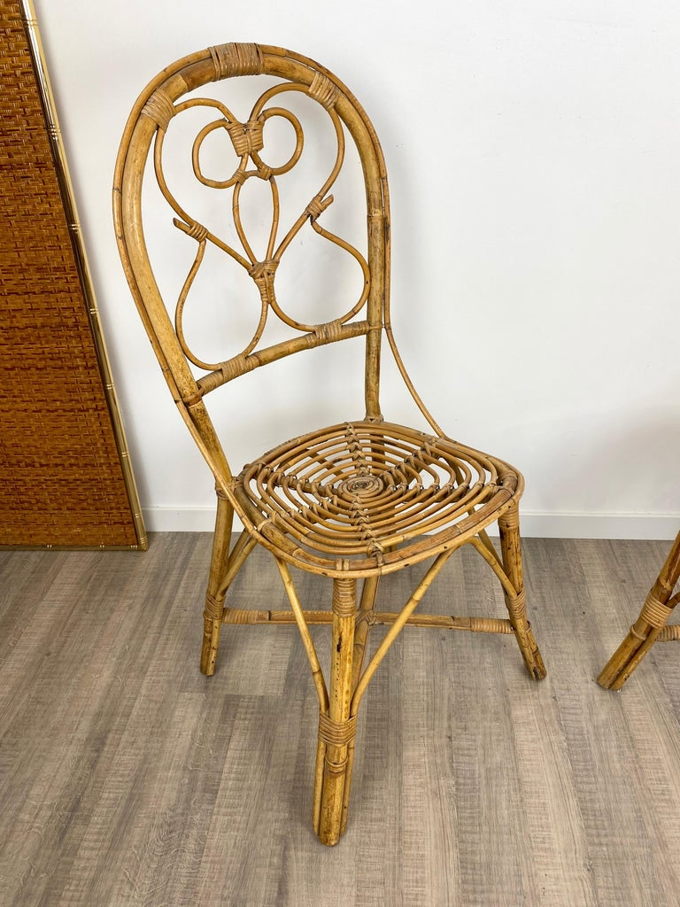 Mid-20th Century Six Chairs Rattan and Bamboo, Italy, 1960s For Sale