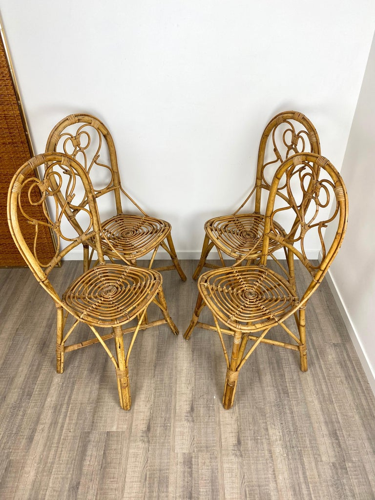 Six Chairs Rattan and Bamboo, Italy, 1960s For Sale 1