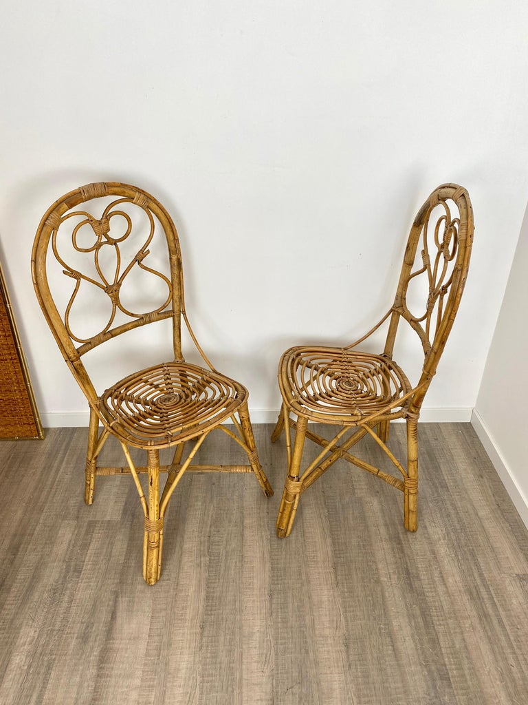 Six Chairs Rattan and Bamboo, Italy, 1960s For Sale 2