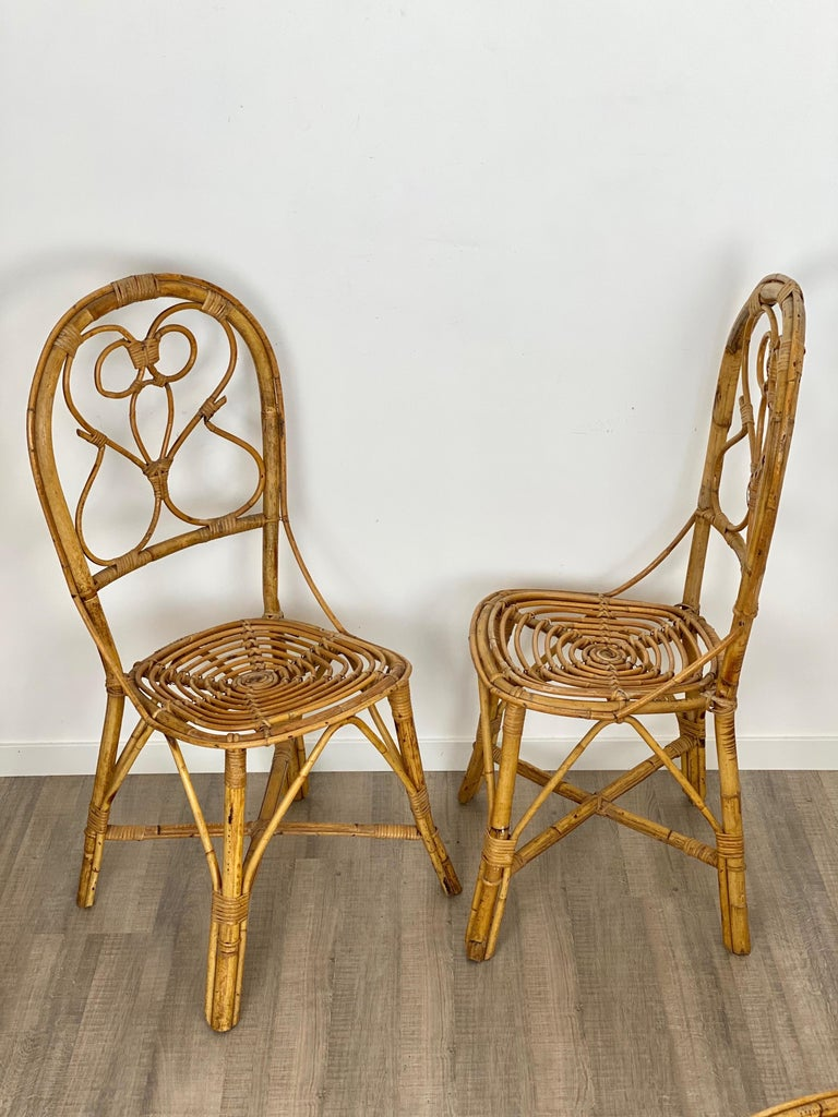 Six Chairs Rattan and Bamboo, Italy, 1960s For Sale 3