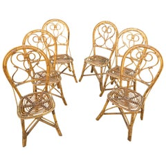 Six Chairs Rattan and Bamboo, Italy, 1960s
