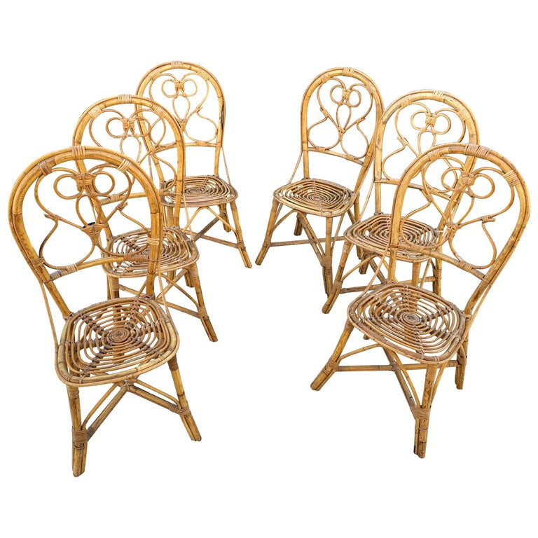 Six Chairs Rattan and Bamboo, Italy, 1960s For Sale