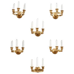 Six Charles X Gilded Bronze Wall Sconces