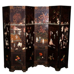 Six Chinoiserie Decorated Ebonized with Carved Hard Stone Screen Panels
