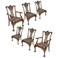 Six Chippendale Style Mahogany Dining Chairs, 19th Century