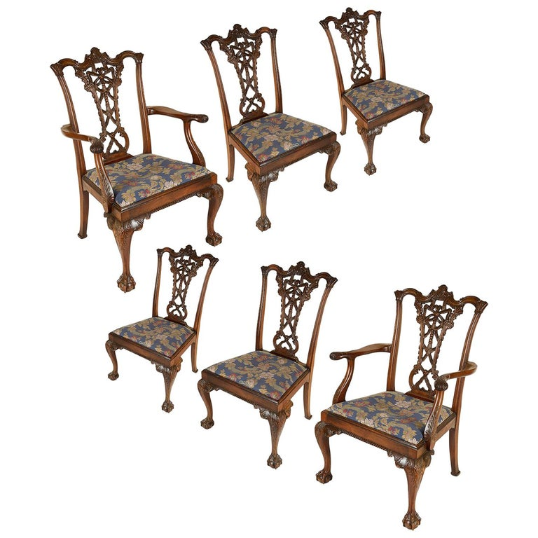Chippendale Mahogany Dining Room Chairs: Six Chippendale Style Mahogany Dining Chairs, 19th Century