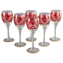 Six Christmas Wine Red Glasses, Germany, Early 20th Century