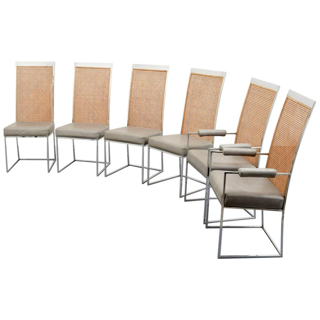 Six Chrome & Cane Back Dining Chairs by Milo Baughman