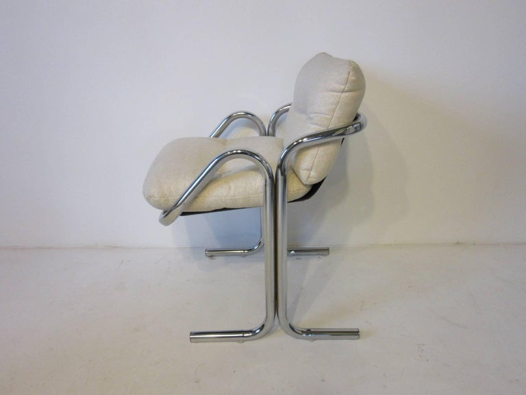 Modern Six Chrome Upholstered Sculptural Dining Chairs by Jerry Johnson For Sale