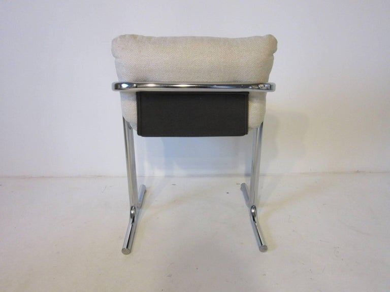 Six Chrome Upholstered Sculptural Dining Chairs by Jerry Johnson In Good Condition For Sale In Cincinnati, OH