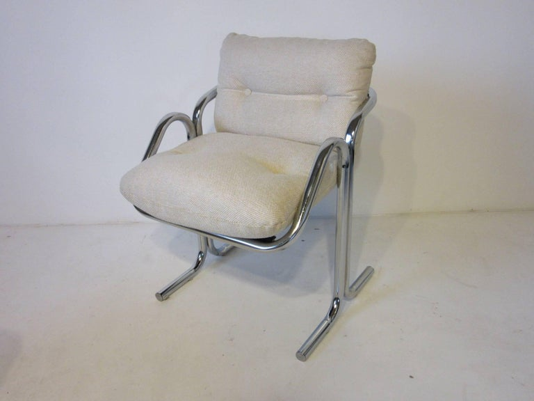 20th Century Six Chrome Upholstered Sculptural Dining Chairs by Jerry Johnson For Sale