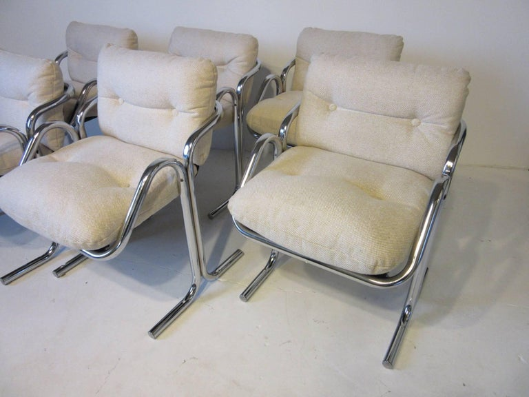 Upholstery Six Chrome Upholstered Sculptural Dining Chairs by Jerry Johnson For Sale