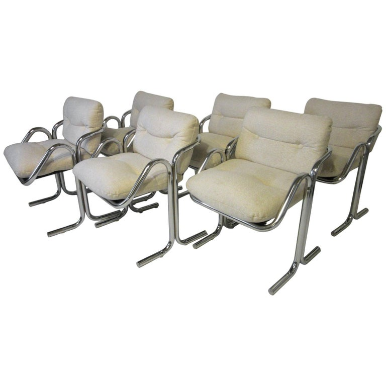 Six Chrome Upholstered Sculptural Dining Chairs by Jerry Johnson For Sale