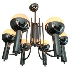 Six Chromed Eyeball Sputnik, Space Age Pendant, Chandelier from 1960-1970
