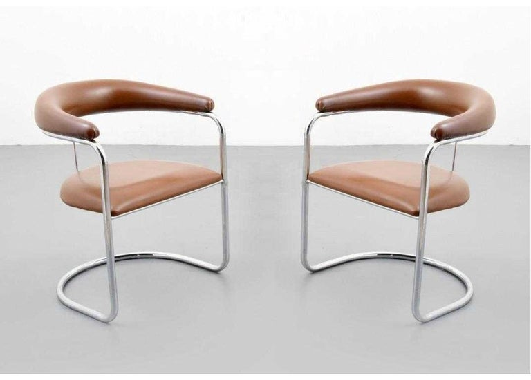 Set of six armchairs designed by Anton Lorenz for Thonet. Each chair has tan upholstered backrest and seat with polished chrome tubular frames.  Mid-Century Modern S-37 chairs were originally designed by Anton Lorenz in 1929 and later manufactured