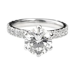 Six-Claw Solitaire Round Cut Diamond Engagement Ring in White Gold