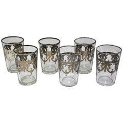 Six Clear and Silver Overlay Shot Glasses